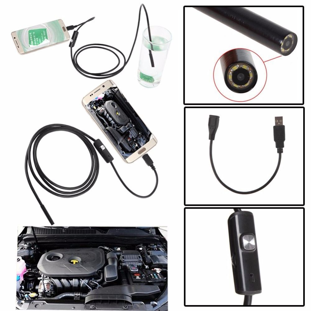 Podofo 5.5mm 5m Endoscope Camera Mirco Usb 6led Android Ip67 Waterproof Soft Pipeline Pcb Pc Inspection Mini Borescope Camera Video Surveillance Security & Protection