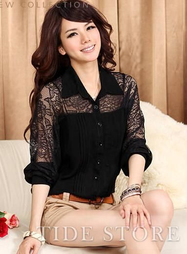 US$17.99 Loose Split Joint Chiffon Lace Bat Sleeve Shirt. #Shirts #Chiffon #Lace #Split