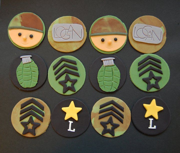 Army Cupcakes like the soldier ones Retirement Pinterest Army