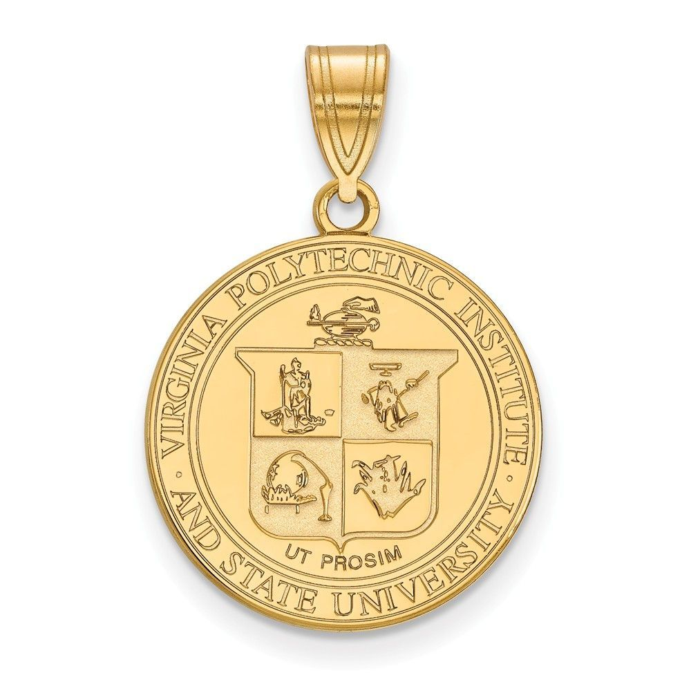 Sterling Silver w/GP LogoArt Virginia Tech Large Crest | Virginia ...