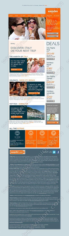 Easyjet Holidays Newsletter marketing email template Newsletters - marketing email template