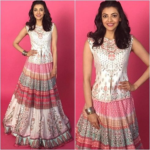 Kajal Aggarwal Looking Angelic In An Anita Dongre Long Skirt And Top Cold Shoulder Blouse Designs Indian Dresses