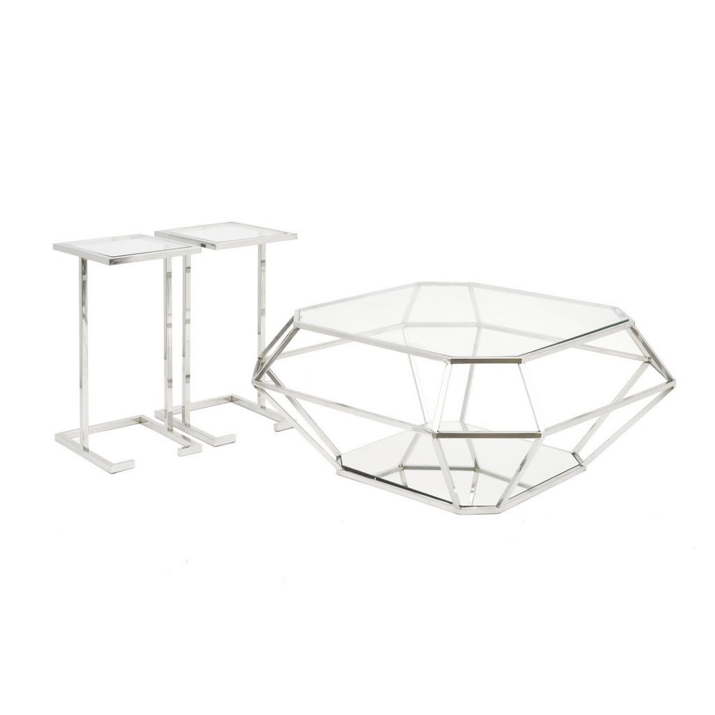 Asscher Diamond Coffee Table With 2 Side Tables Coffee Table Contemporary Side Tables Side Table [ 1024 x 1024 Pixel ]