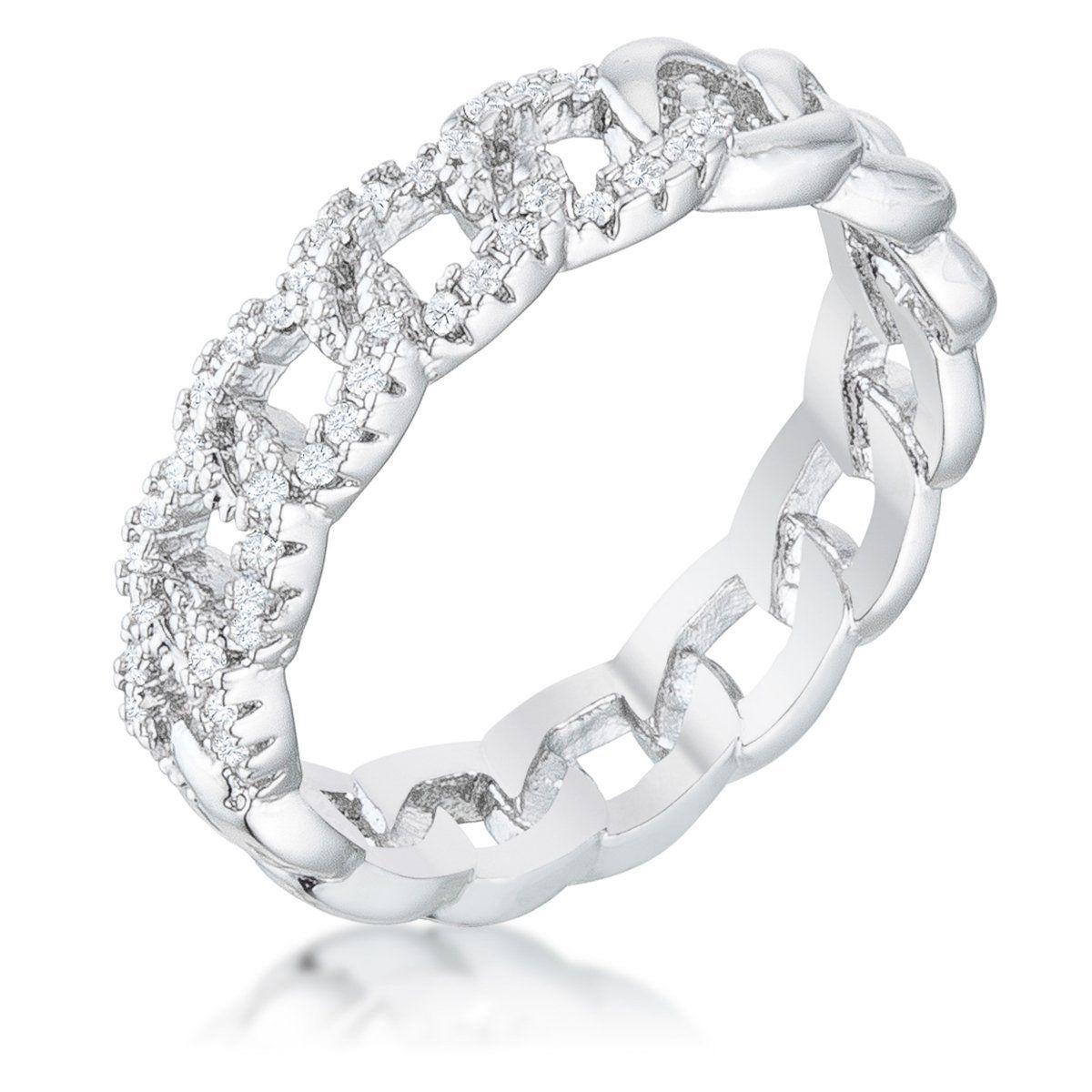 Interlocking Rhodium Chain Design Ring with CZ Designer Jewelry