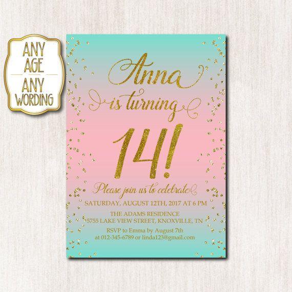14th Birthday Invitation Fourteenth Birthday Gold Glitter Confetti
