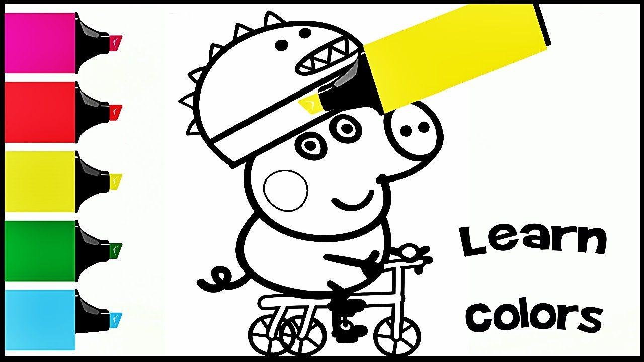 Cвинка Пеппа Джордж катается на велосипеде Раскраска ...