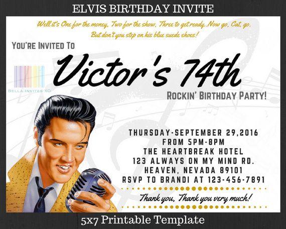 Elvis birthday invite elvis presley elvis by bellainvitesxo elvis anniversary party invitations elvis birthday invite elvis presley elvis by bellainvitesxo filmwisefo