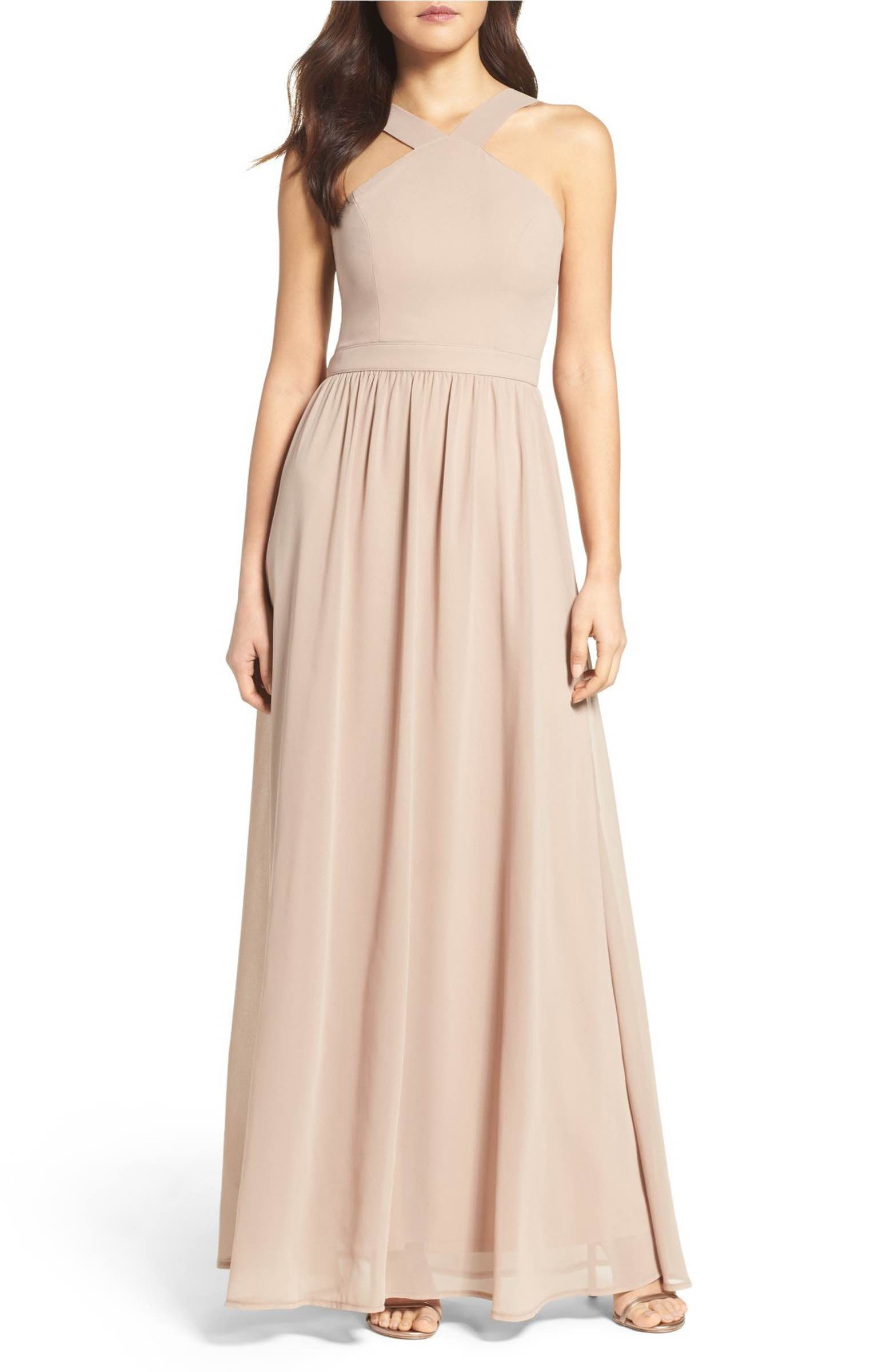 Womens dresses wedding guest  Cross Neck ALine Chiffon Gown  Chiffon gown Gowns and Nordstrom