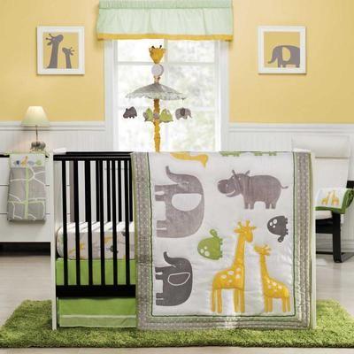 Elephants And Giraffes 4p Neutral Baby Boy Zoo Animals Nursery Bedding Set Ebay Twinies Pinterest Animal Bed Sets