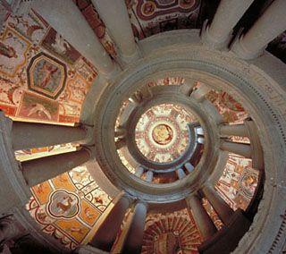 The unique spiral staircase (Scala Regia) at the Villa Farnese in Caprarola designed by Vignola.