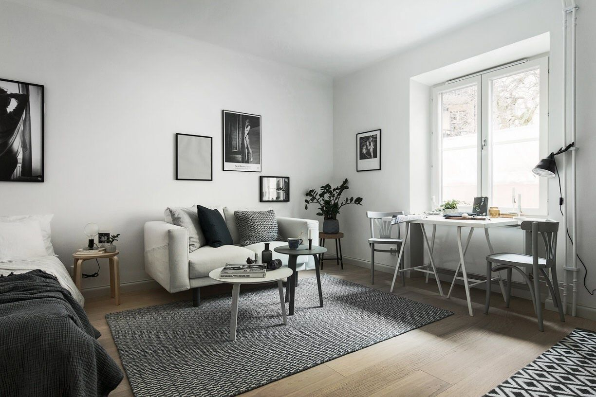 Studio Apartment Living Simple And Neutral