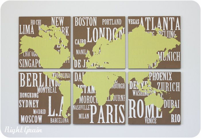 Original Painting World Map and Major Cities Screen