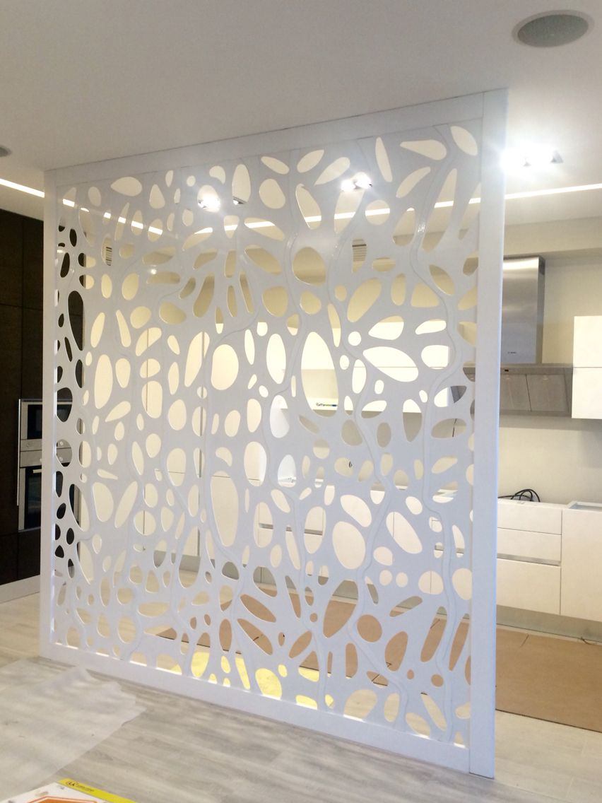 Laser cut metal oak frame partition one day i will have for Room divider frame crafts