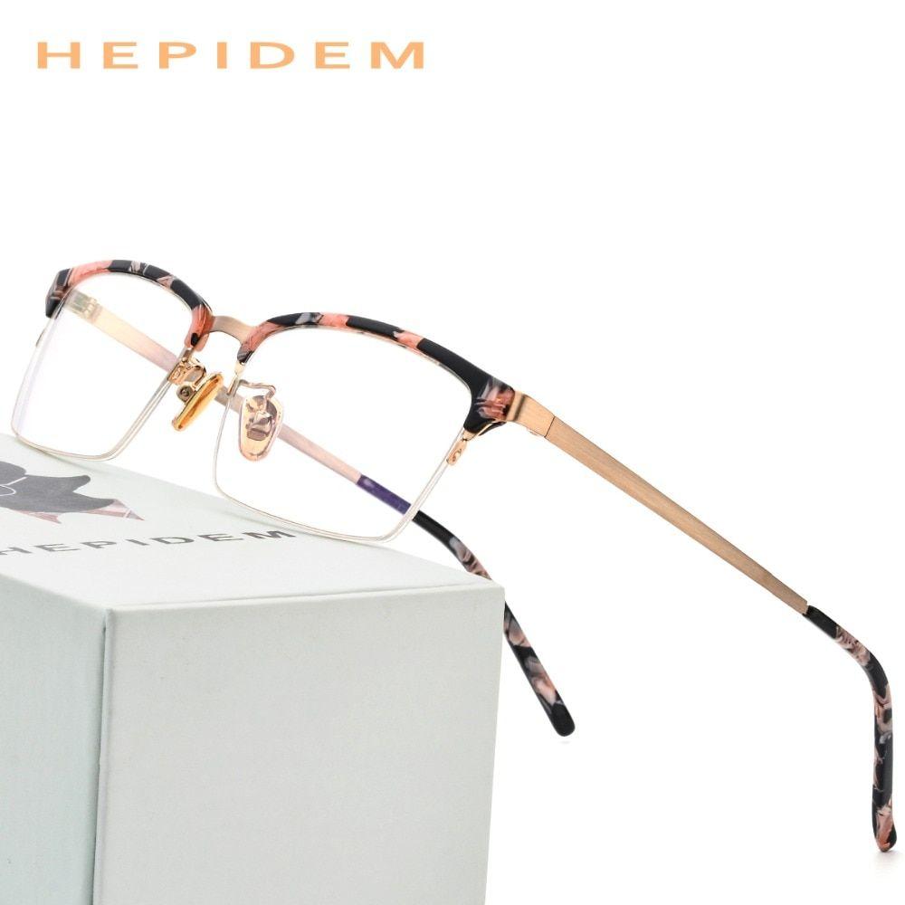 b2c3f88ba7d Acetate Optical Glasses Frame Men 2018 New Fashion Thin Metal Spectacle  Women Myopia Prescription Eyeglasses Female Half Eyewear Review