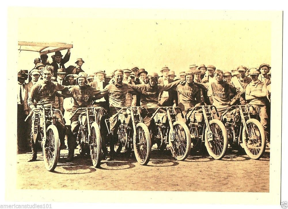 Harley Davidson Motorcycle 1915 Dodge City Race Old Photos
