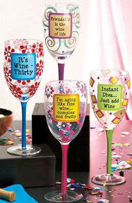 Image detail for -Handpainted Wine Glasses-CBA
