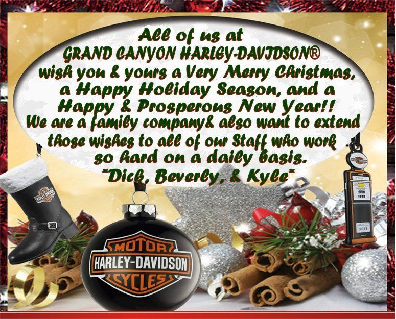 merry christmas happy new year from grand canyon harley davidson