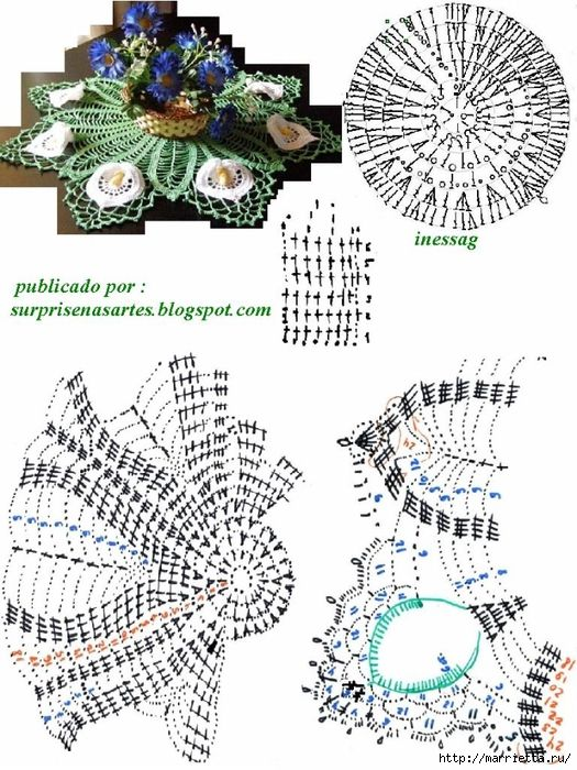 Круглая салфетка крючком с цветами КАЛЛАМИ (4) (525x700, 313Kb ...