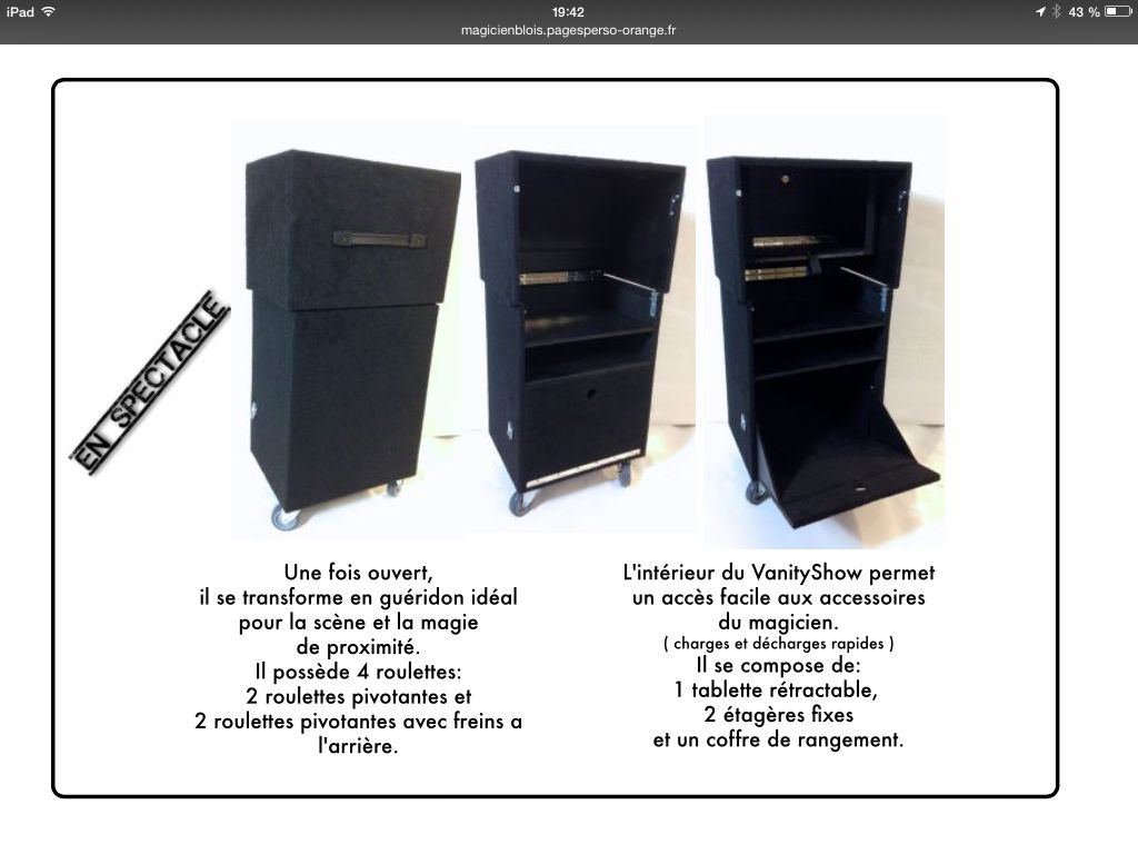 Vanity show , vanity case, spectacle magicé table valise gueridon