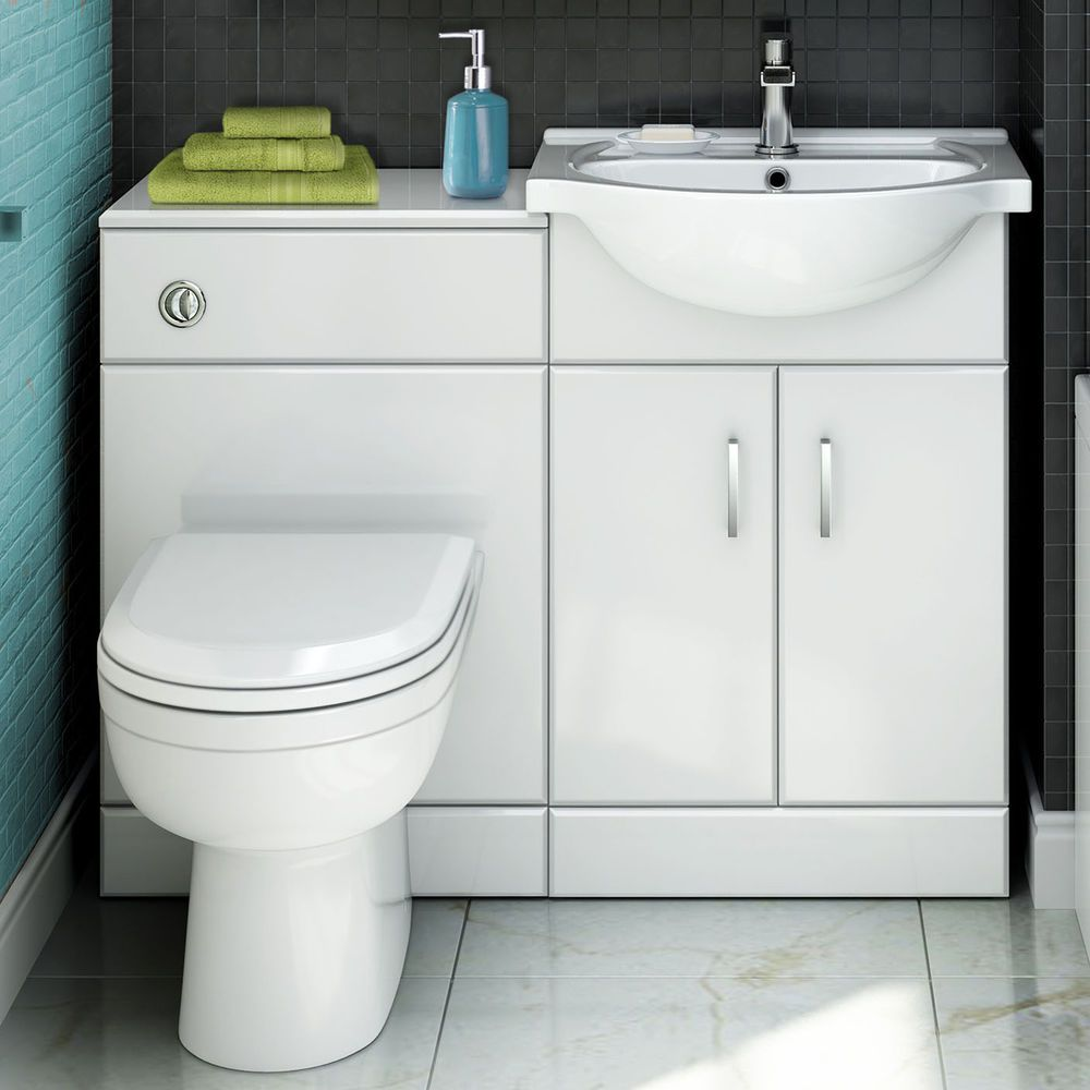1014 x 820mm curved toilet & basin vanity unit combination