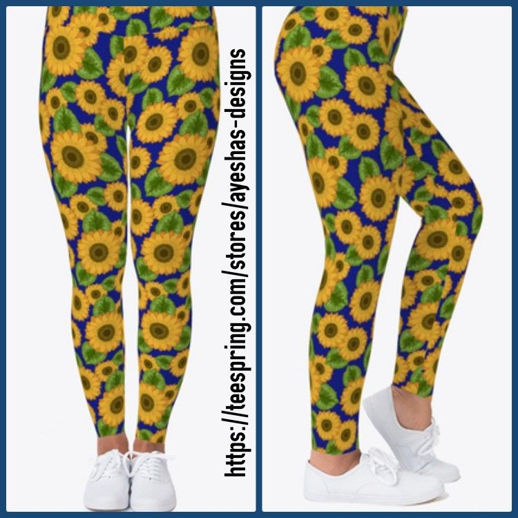 #sunflowers #pattern #leggings are available in my teespring store. #teespring #sunflower #legging #...