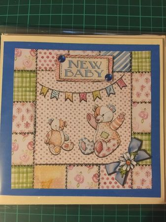 New Baby - Patchwork Bears - PInk by Sharon Wilson
