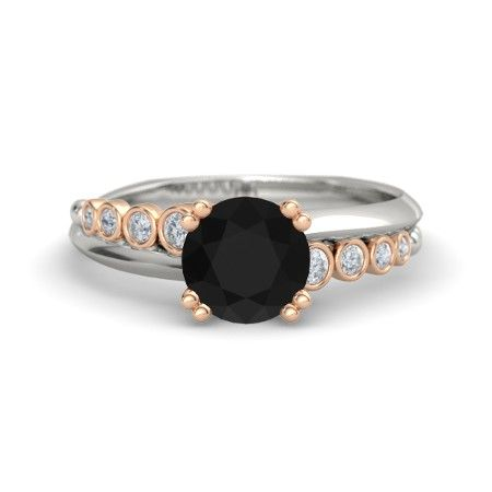 Round Black yx 14K White Gold Ring with Diamond Isabella Ring