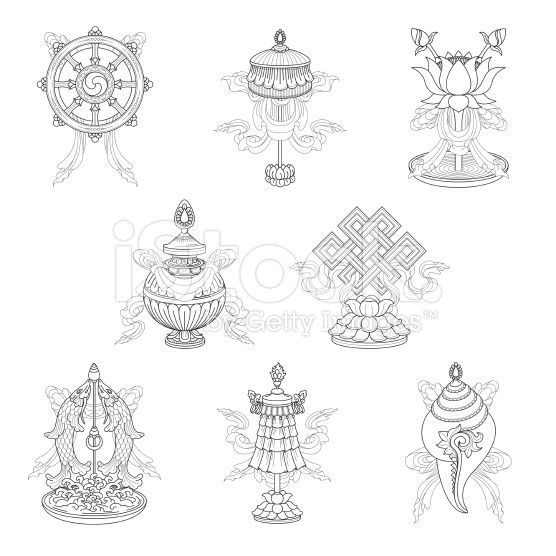 Vector Drawing Of The Eight Auspicious Buddhist Symbols Also