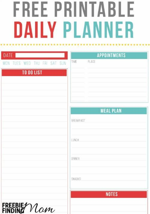 Want to get more organized? This free printable daily planner will help you organize your day and improve your productivity by providing space for you to record your daily to do list, meal plan, appointments, exercise, water intake and any important notes.