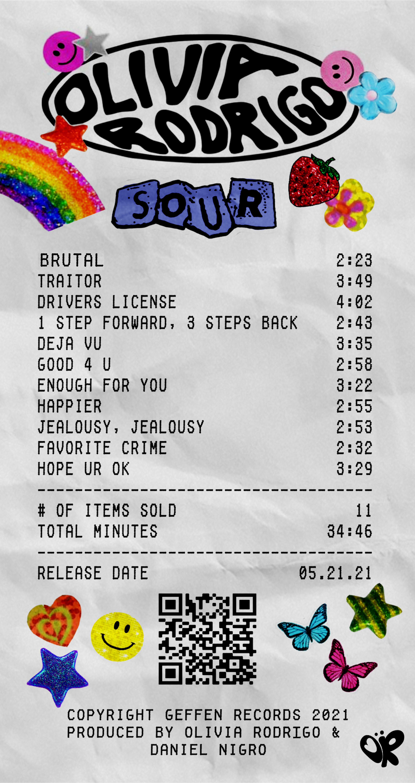olivia rodrigo sour album receipt