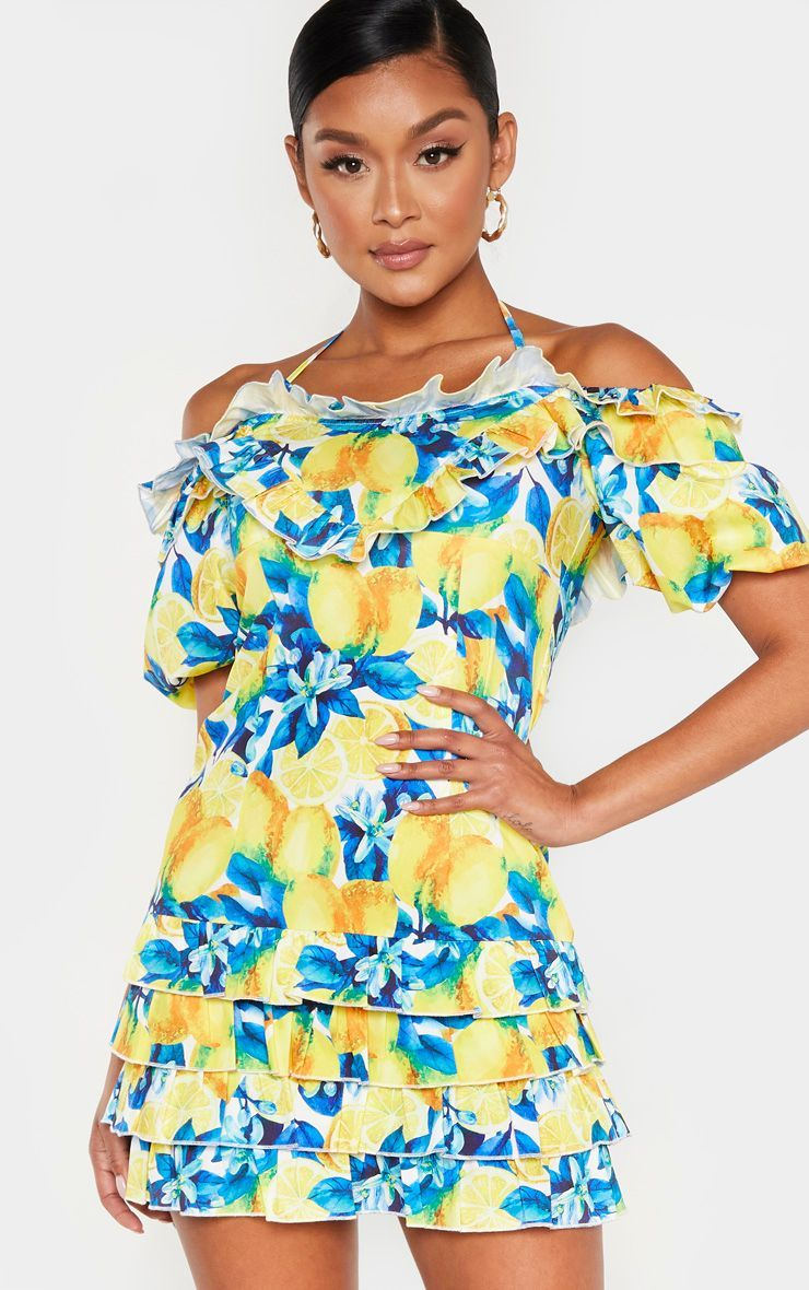 White Lemon Print Ruffle Puff Sleeve Shift Dress Shift Dress Crochet Bodycon Dresses Ribbed Bodycon Dress [ 1180 x 740 Pixel ]