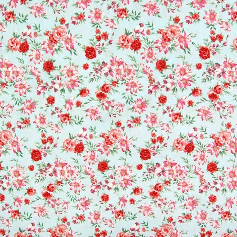 Fl Print Javanaise Viscose Fabric Light Blue Red Pink 148cm Prints Plains Dressmaking Fabrics