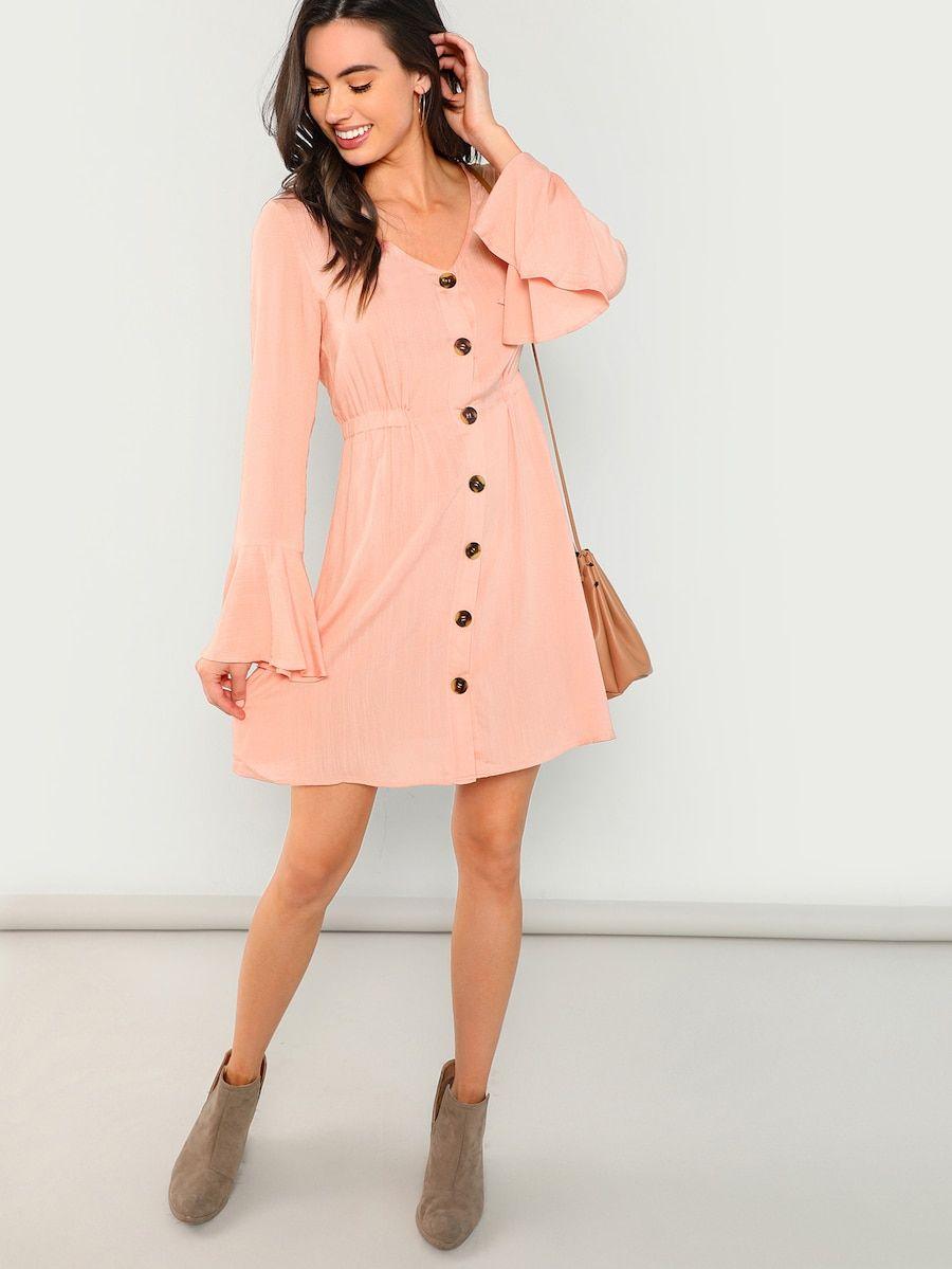 263db61b21 Split Bell Cuff Button Front Dress -SheIn(Sheinside)