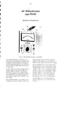 Radiometer RV36 Analog multimeter Service and User Manual