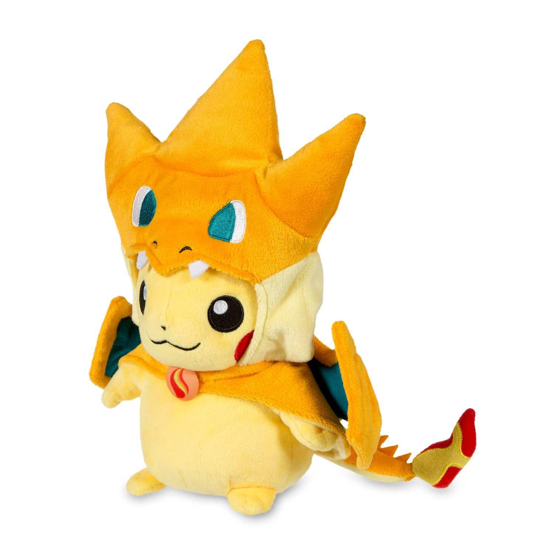41075d14 Official Mega Charizard Y Costume Pikachu Pokémon Plush. Features buttoned  orange cape with yellow lining. Pokémon Center Original design.