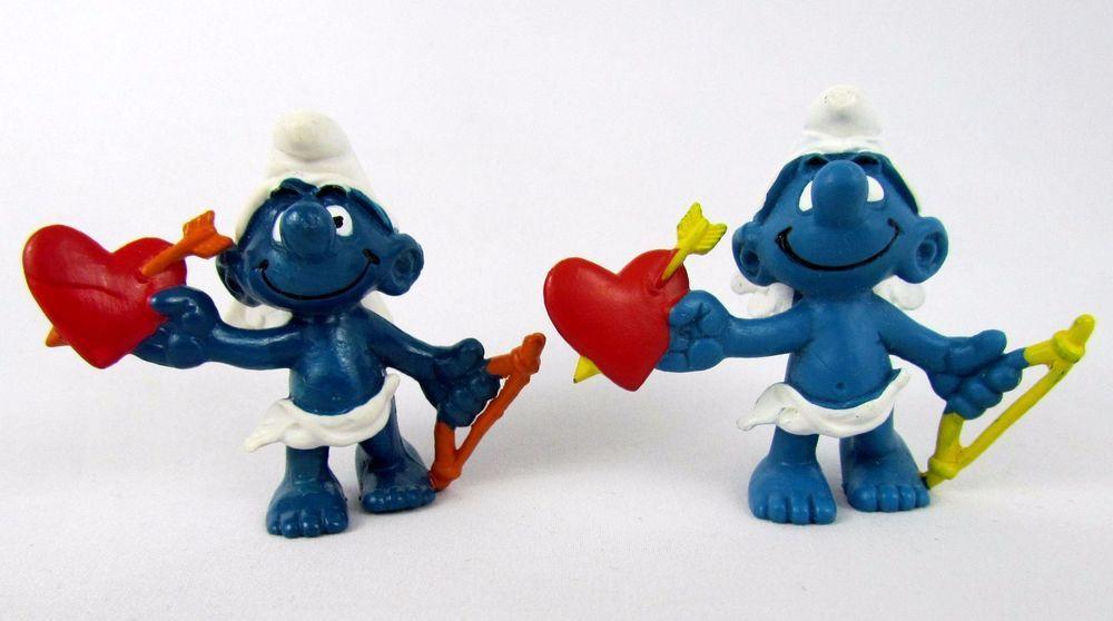 Vtg Smurfs Peyo AMOUR LOVE CUPID Smurf 20128 Schleich Hong Kong PVC Figurine Toy #Schleich