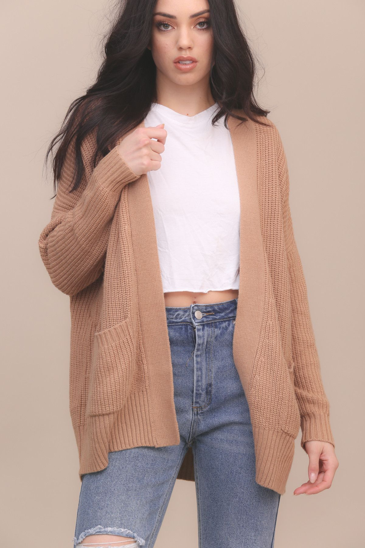 knit open front cardigan. front patch pockets. style #: cs-7374
