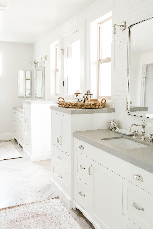 Modern Farmhouse Bright White Bathroom pinned by www