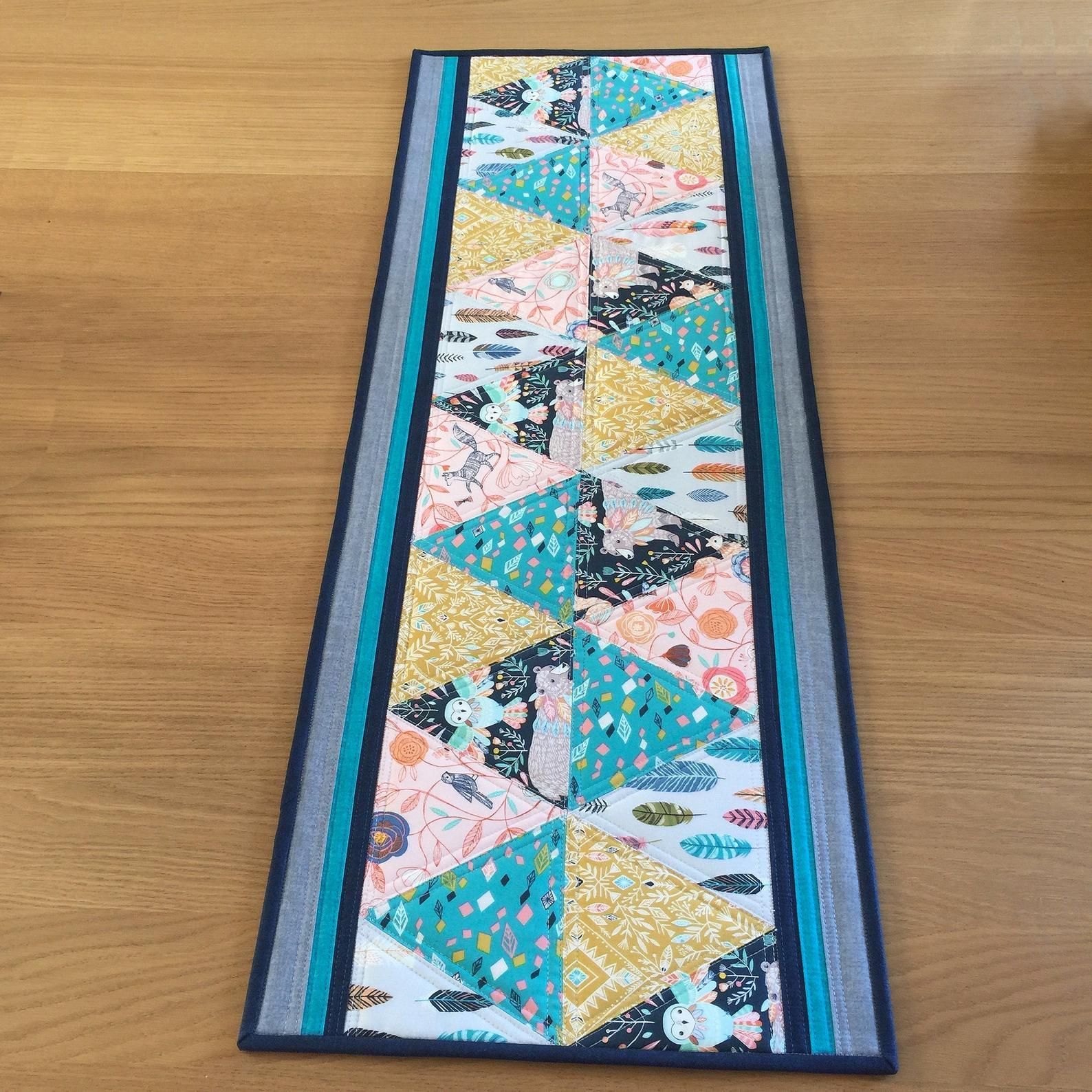 Colourful Quilted Table Runner Modern Triangle Table Runner Quilted Table Topper Teal Sideboard Runner Coral Dresser Runner With Images Quilted Table Runner Quilted Table Runners Christmas Table Runners