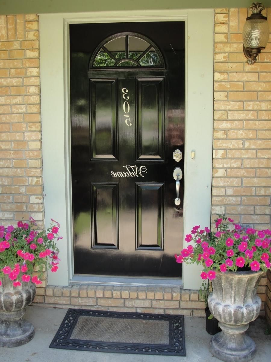 Farmhouse front door glossy black glossy black double exterior doors with fanlight of arrows source