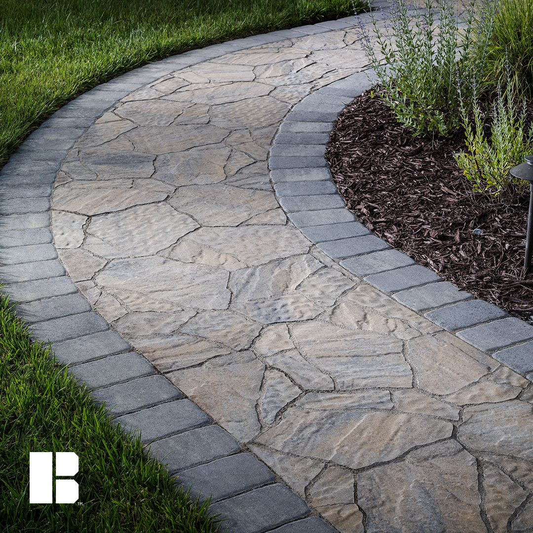 Add A Contrasting Border To Your Walkway To Add Visual Interest Front Walkway Landscaping Backyard Walkway Walkway Landscaping