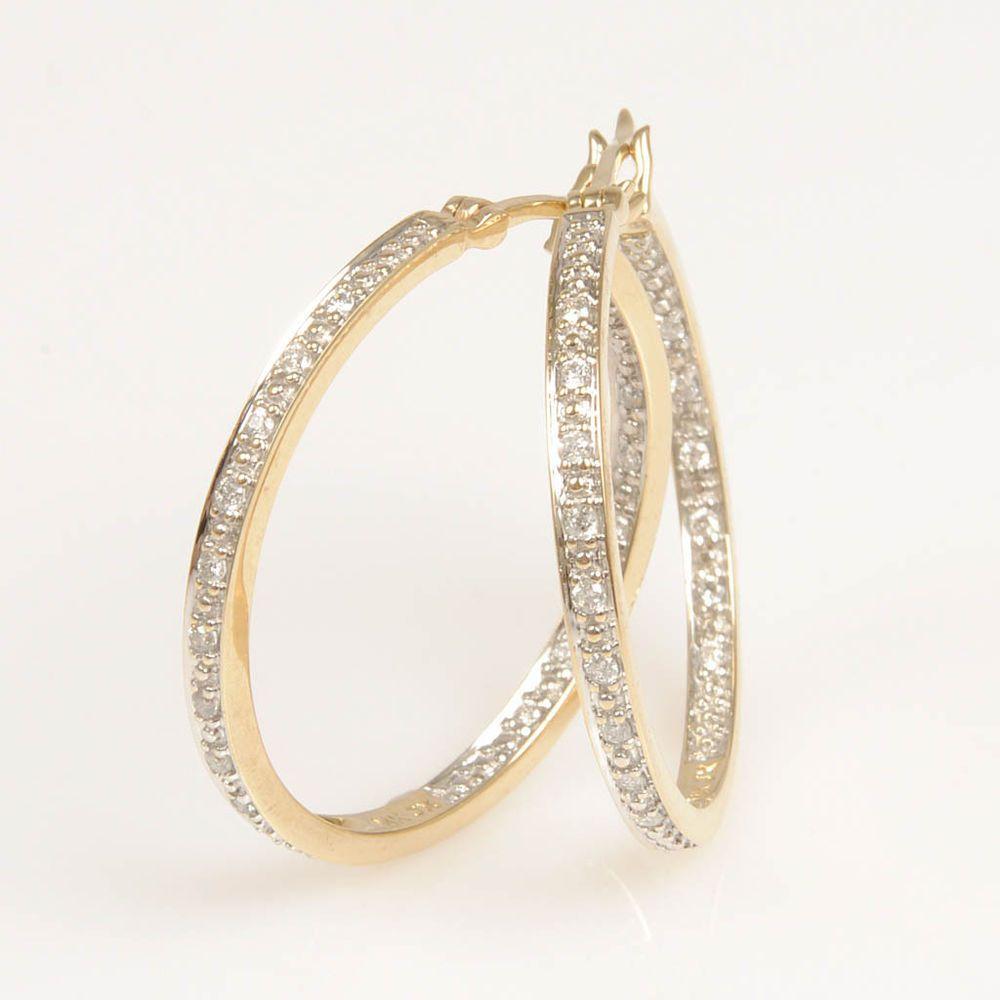 14k Yellow Gold Diamond Hoop Earrings Finejewelry Diamonds