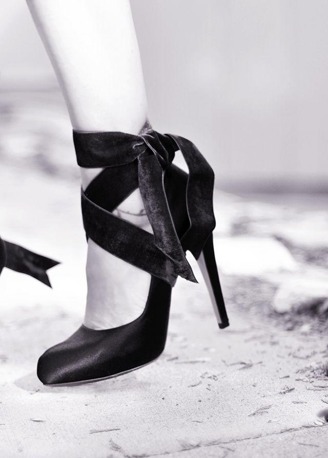 Velvet Ribbon Ankle Wrap Bow Heels DIY | ...love Maegan