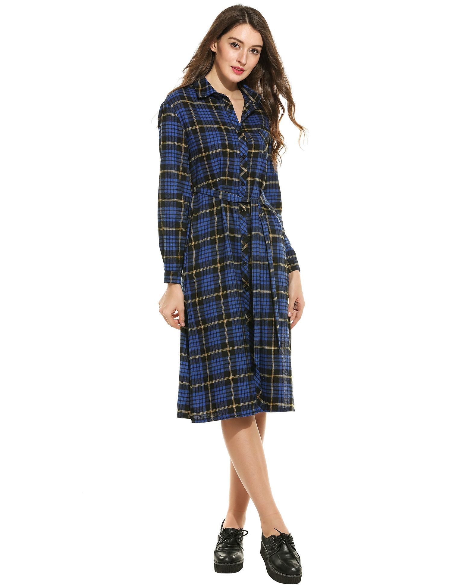 Blue New Women Casual Turn-down Collar Long Sleeve Plaid Side Split ...