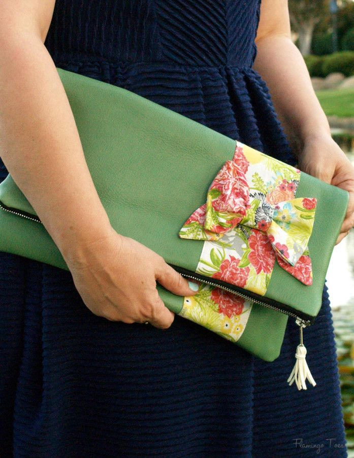 Leather and Bow Fold Over Clutch -