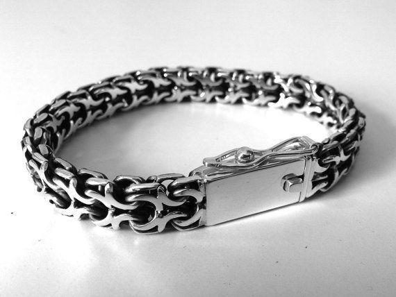 Men's Silver Bracelet 925 sterling by ValentinasDollsStore