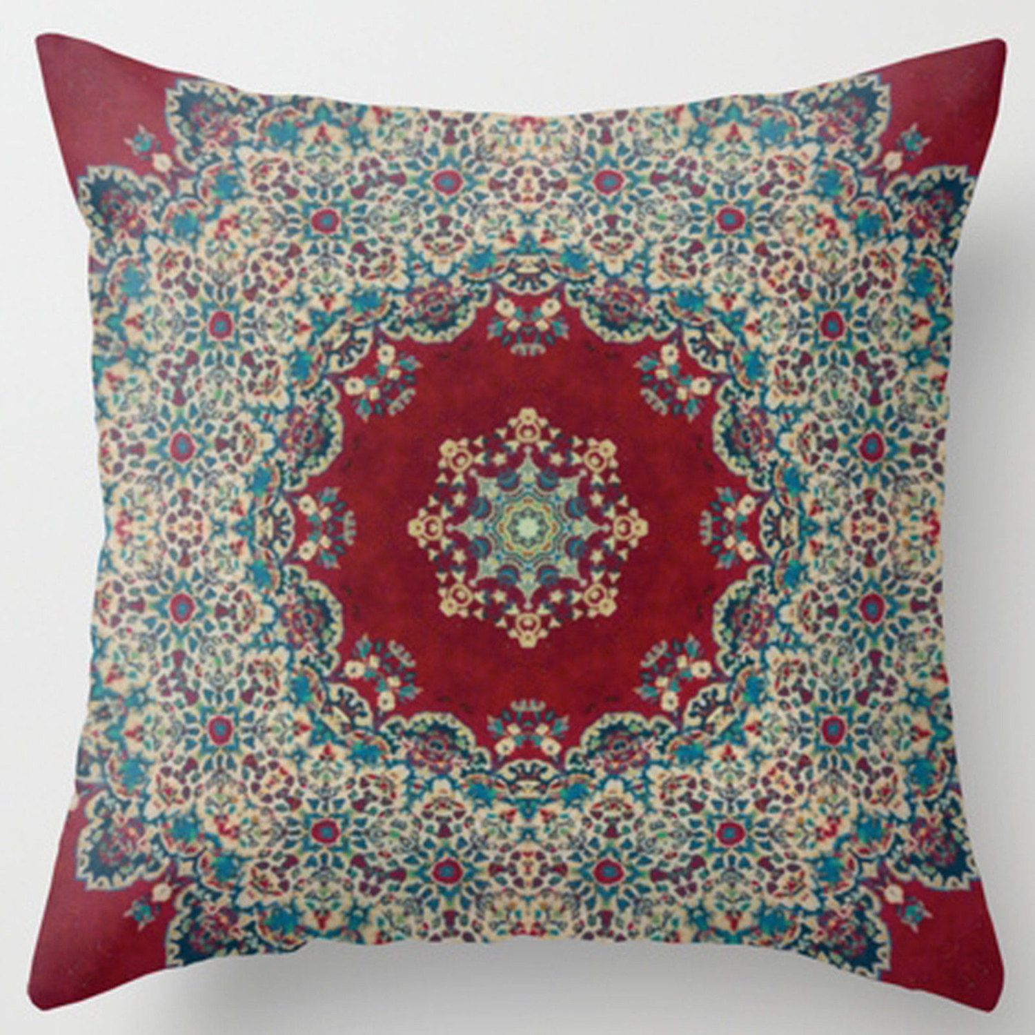 Etsy Throw Pillows Indian Boho 18 X 18 Square Custom Throw Accent Toss Pillow Case