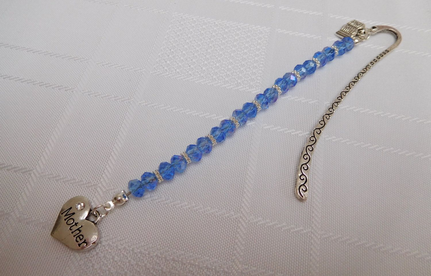 Blue & Silver Beaded 'Mother' Bookmark with Charms, Tibetan Silver Bookmark, Mothers Day Gift by WendyMCreations on Etsy