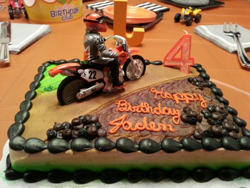 Remarkable Dirt Bike Motocross Birthday Cake For My Sons 4Th Birthday It Funny Birthday Cards Online Overcheapnameinfo
