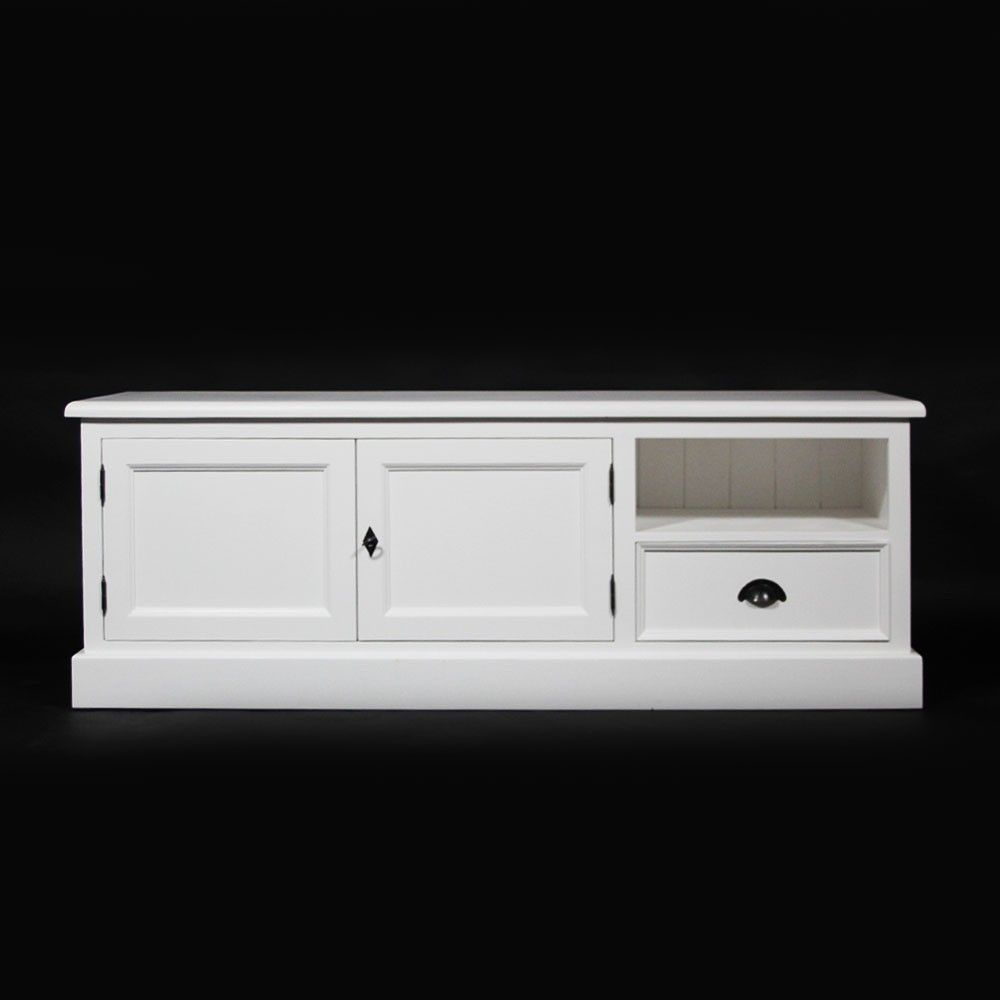 Buffet Tv 2 Portes 1 Tiroir 1 Niche En Pin Massif Http Www Made  # Meuble Tv Pin Massif Blanc